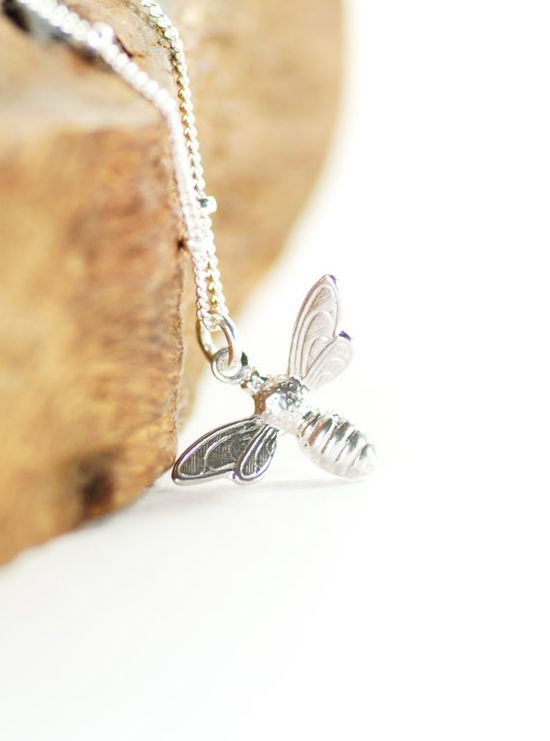 Meli necklace - silver bee necklace, maui, hawaii jewelry