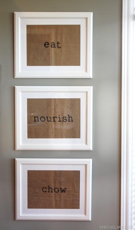 Burlap framed placemats