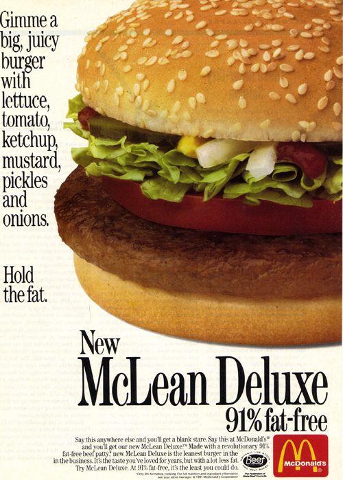 "The ""McLean"" great name! #hamburger #McDonalds #fast_food #retro #food #vintage #ad #1980s #nostalgia"