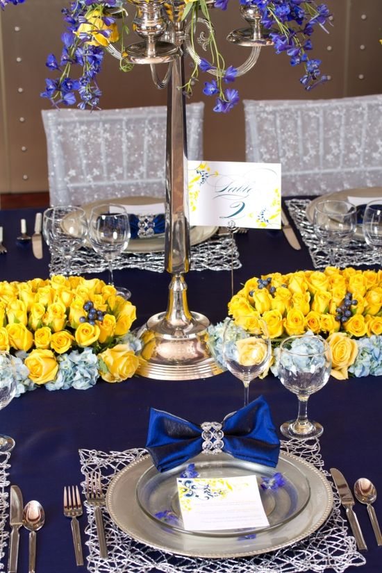 Blue and Yellow reception wedding flowers,  wedding decor, wedding flower centerpiece, wedding flower arrangement, add pic source on comment and we will update it. www.myfloweraffai... can create this beautiful wedding flower look.