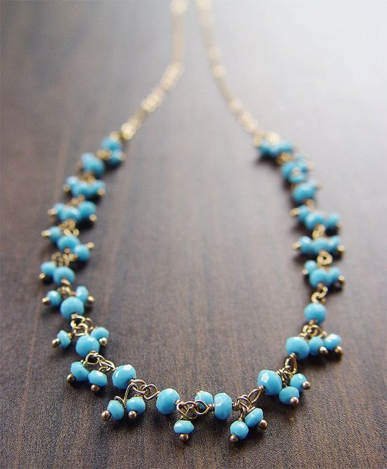 Cluster necklace ( moroccan blue) $45.00