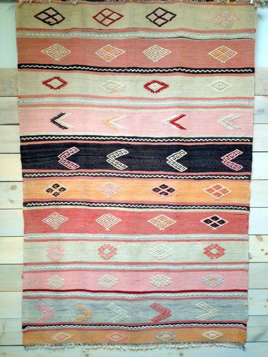 Vintage Turkish Kilim Cicim Rug in Warm Neutrals by chezboheme, $225.00