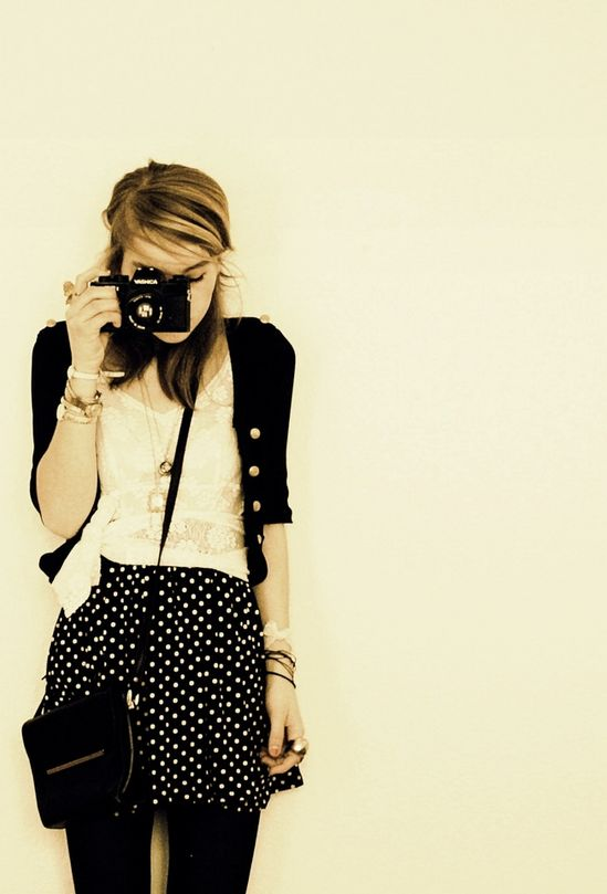 Lacy top, polka dotted skirt, cardigan and camera. My perfect outfit.