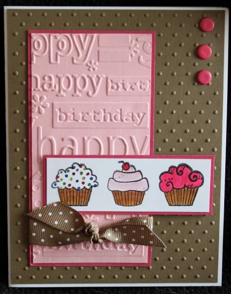 Cupcake card - using part of the birthday embossing folder
