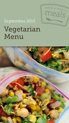 Vegetarian September 2013 Freezer Menu - ready to start freezer cooking to make meal planning easier?  This menu has grocery lists, printable labels, instructions, and more! #freezercooking #vegetarian #mealplanning