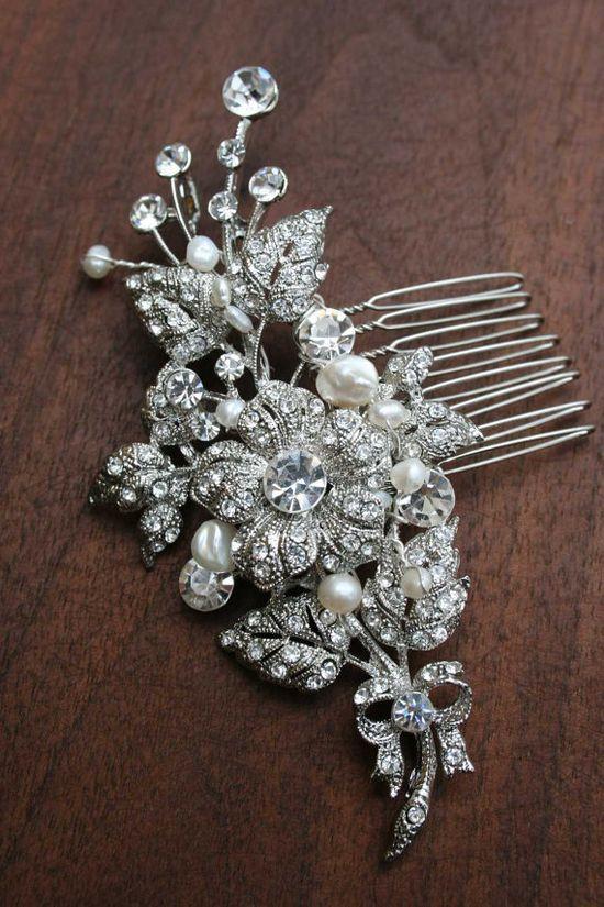 Bridal Crystal hair comb  Swarovski crystal