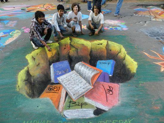 3D chalk, books