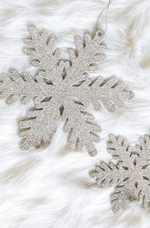 Glitter Snowflake Ornaments. Could easily DIY!