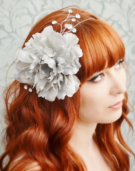 Silver floral headband hair accessory grey by gardensofwhimsy