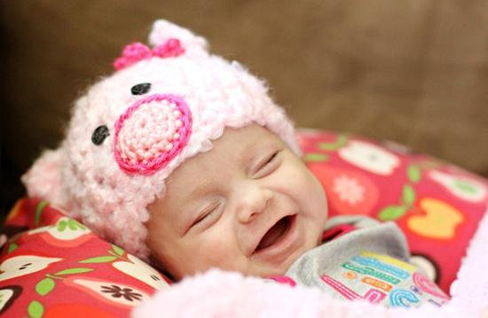 ready to shipp Fuzzy Piggy Beanie  crochet Baby by lilianda, $13.00