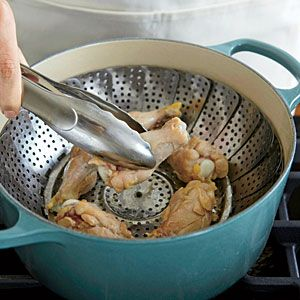 Steaming is our first step to making healthy, no-fry chicken wings