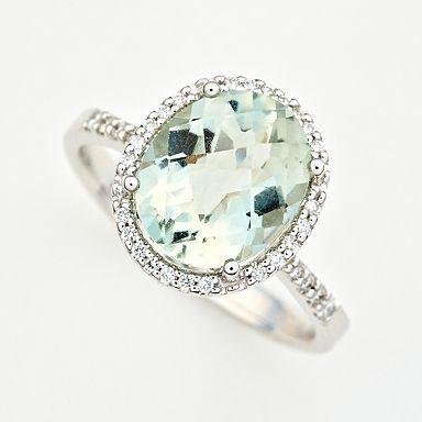 Green amethyst and diamond ring///