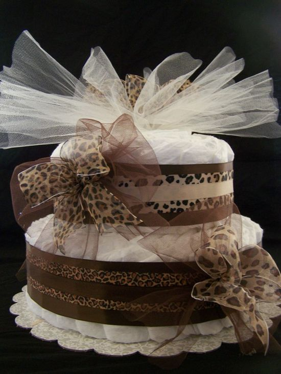 2 tier Cheetah Diaper Cake. So cute for baby showers. ?