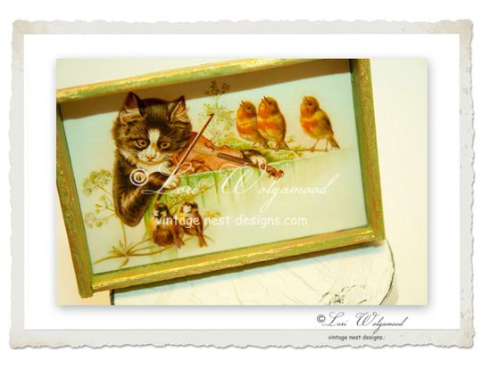 The Cat & the Fiddle Framed Print for Miniature Doll House -  Vintage Nest Designs, Creative Handmade and Hand Painted Designs