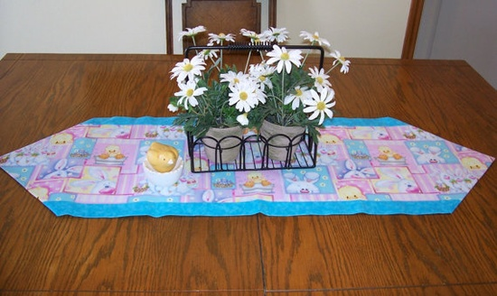 Spring Table Runner in Pink and Blue with by threadsandthings1, $10.00