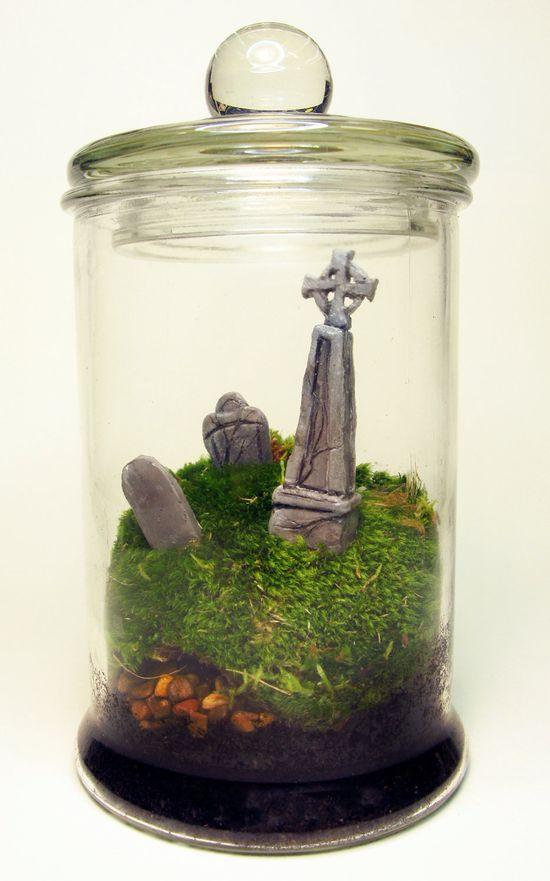 DIY idea  ::  Halloween Graveyard Terrarium.