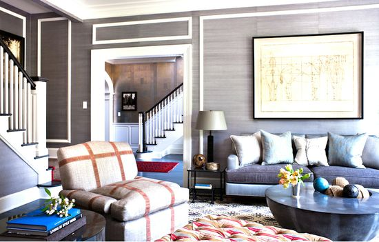 A Greenwich, CT home decorated by interior design personality Thom Filicia. A home filled with lots of texture and decorated in an eclectic but traditional style.