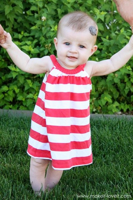 Up-cycled T-shirt to baby dress tutorial