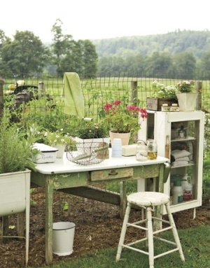 Many Repurposed Old Items Make One Charming Outdoor Setting