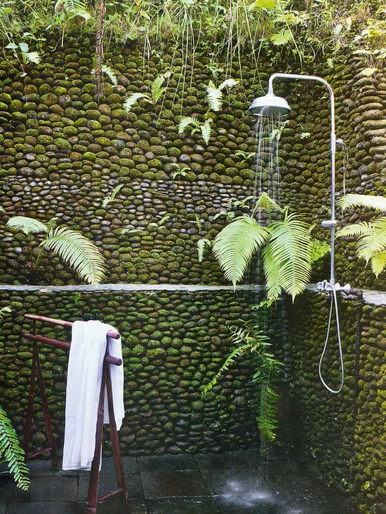 outdoor shower with greenery