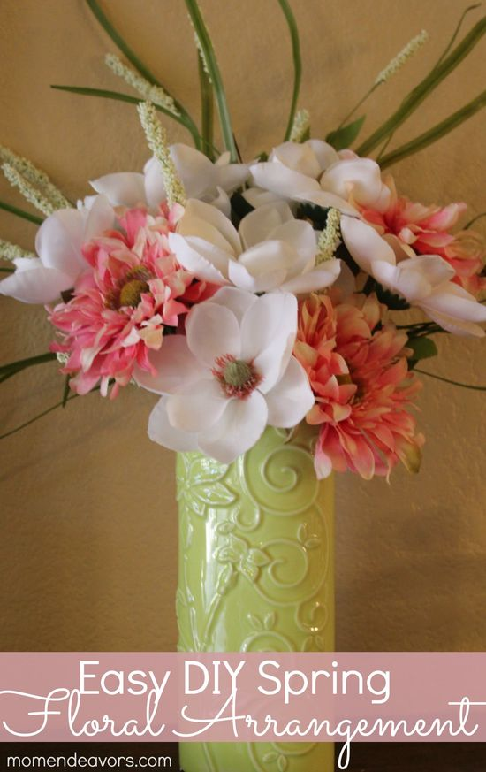 Easy DIY Spring Flower Arrangement via momendeavors.com
