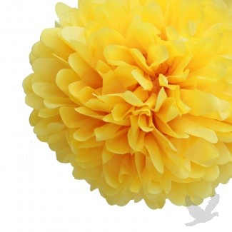 2012 Wedding Trends: Light and Airy Sunflower Yellow Tissue Paper Pom Poms, perf