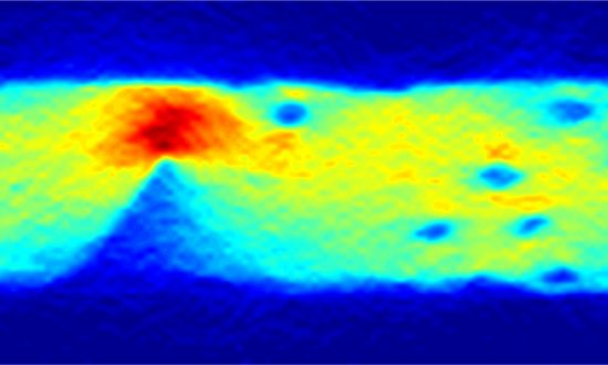 """An image of the current flow in graphene, obtained using a diamond quantum sensor. The colour reveals where defects lie by showing the current intensity i.e. the number of electrons passing through each second."" [Credit: University of Melbourne/cqc2t.org]"