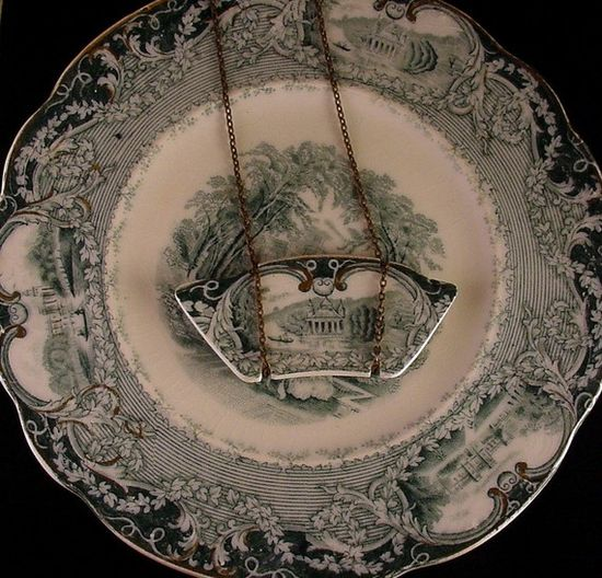 Broken china jewelry necklace green transferware castle by dishfunctionldesigns