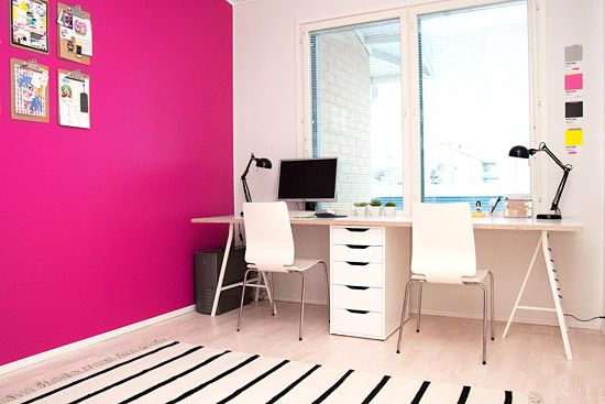 pink white office