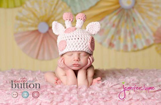 Newborn Gina the Giraffe Newborn Hat by cuteasababysbutton on Etsy, $25.00