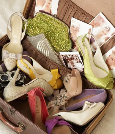 Suitcase full of shoes via BHLDN