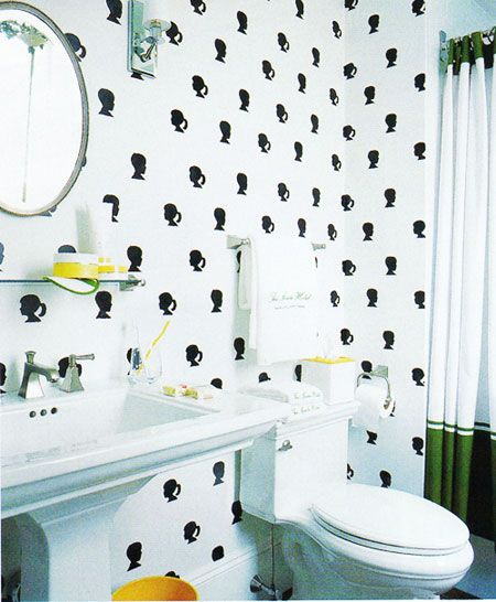 whimsical children's bath, hand stenciled silhouettes, green and yellow, Kate Spade, bath, bathroom, bathtub, black and white, decor, decorate, guest bath, home, interior design, interiors, marble, powder room, sconce, shower, tub, vanity, white