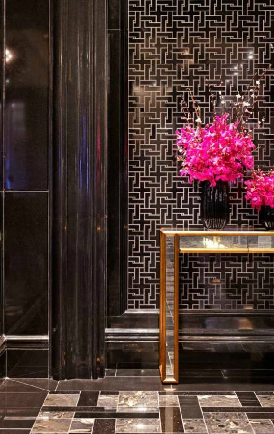 Trump International Hotel Lobby detail texture pattern flooring glod balck accents
