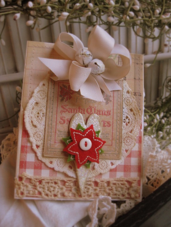 vintage style christmas advertising label santa claus heart stiched handmade card