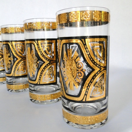 Vintage Glassware, gold and black