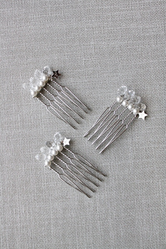 set of 3 hair combs crystal & pearl by trinkjewelry