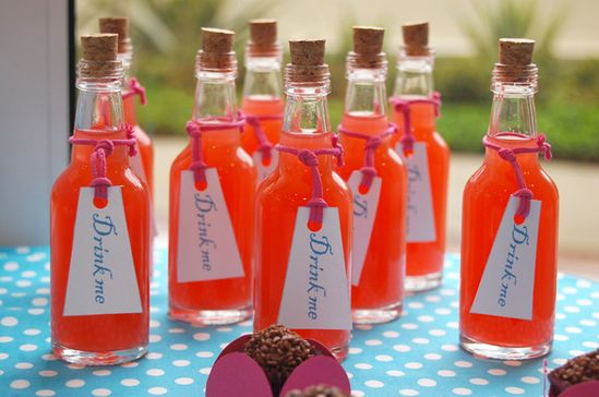 Alice in wonderland party bottles
