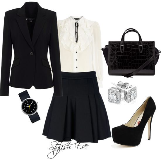 """""""Black & White Work Outfit !"""" by stylisheve on Polyvore"""