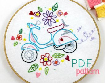 Retro Scooter. Hand Embroidery Pattern. Embroidery Designs. Embroidery Transfer. Digital Pattern. Summer. Vespa Scooter. Vintage Scooter.