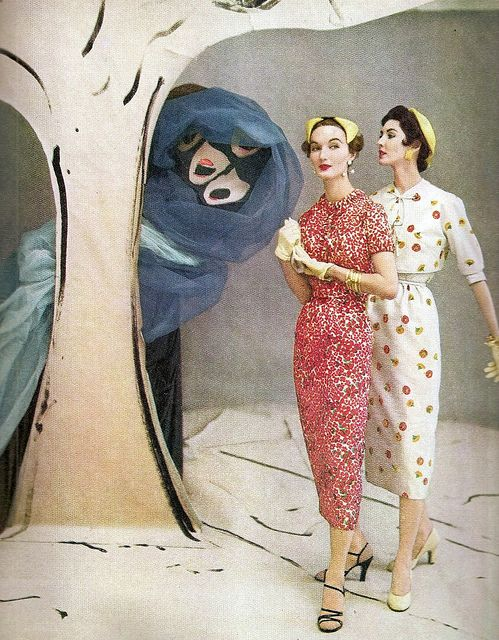 """Evelyn and Dovima are modelling in a painted set by Marcel Vertes, photographed by Horst P Horst, May 1953."" #vintage #fashion #1950s #dress #hat"