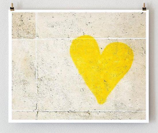 Yellow Graffiti Heart from Paris Print Shop