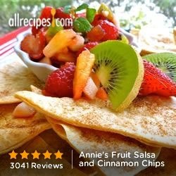 Annie's Fruit Salsa and Cinnamon Chips from Allrecipes.com #myplate #fruits #grains