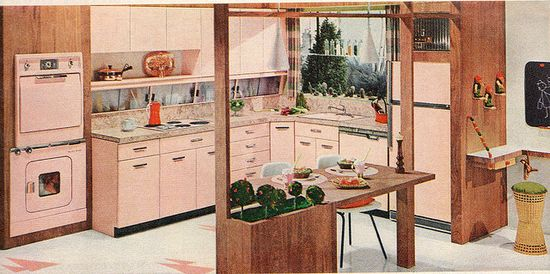 Pink kitchen from General Electric - 1958. #vintage #1950s