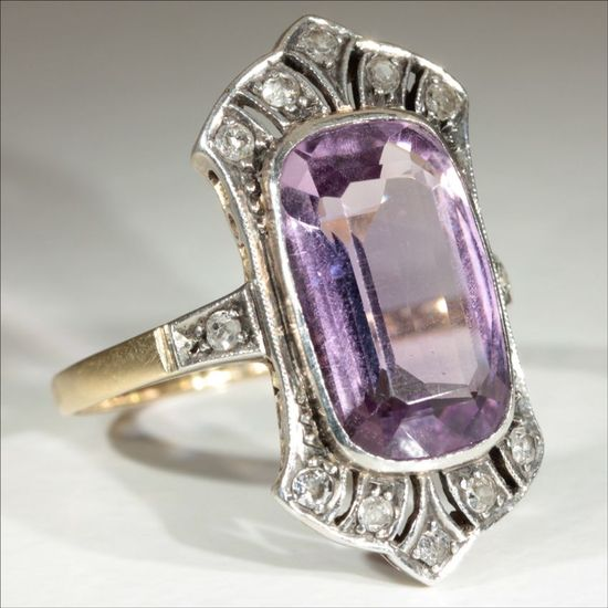 Antique 18k and Platinum Edwardian Amethyst and Diamond Ring c.1910