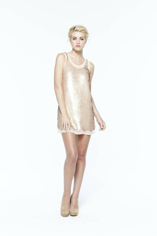 paper crown: montauk sequin shift dress