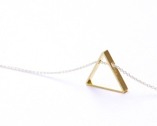 Brass triangle necklace. So perfect.