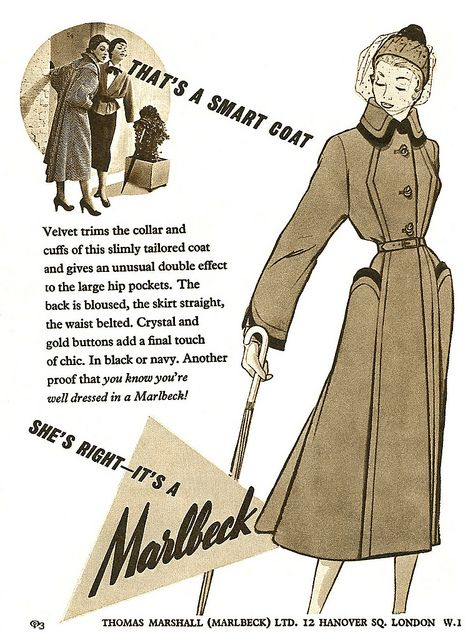 Marlbeck advertisement from The Sketch magazine, October 1950. #vintage #1950s #coats #fashion