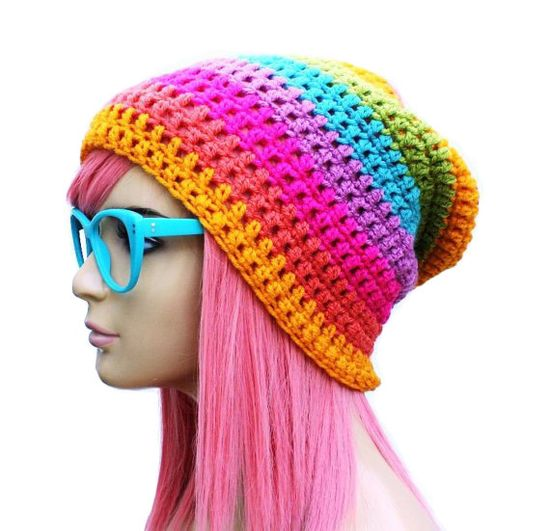 Crochet Slouch Rainbow Beanie- Ultimate Slacker Striped Beanie Hat