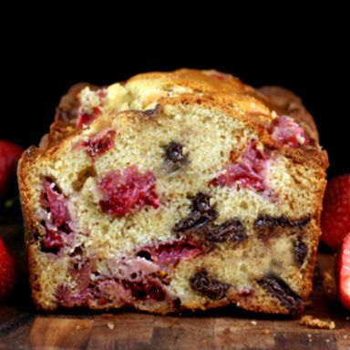 super moist, fresh strawberry malted chocolate chunk loaf cake. Sounds fantastic!!