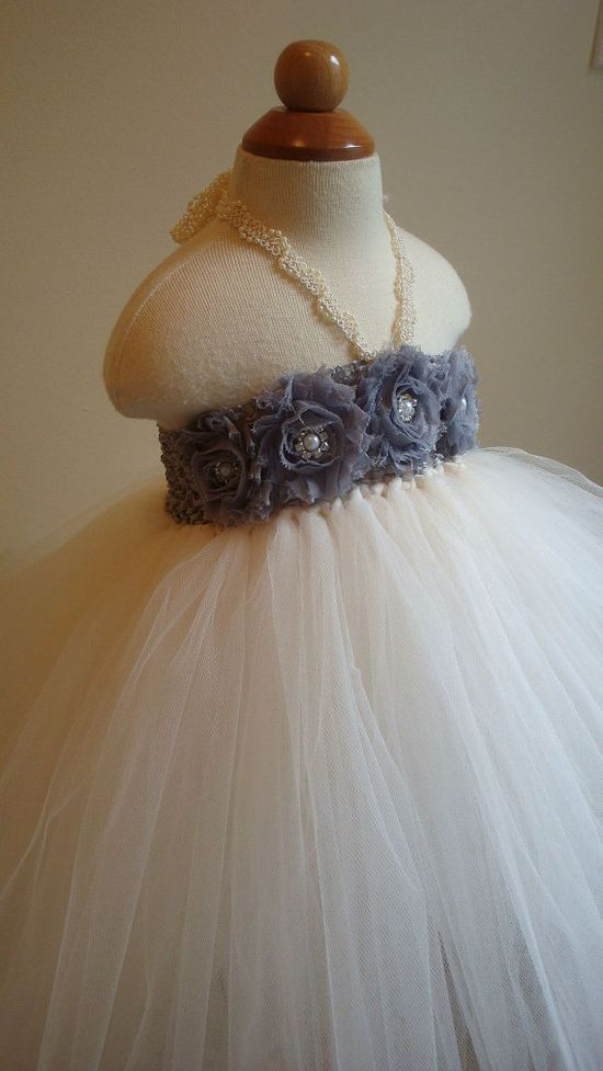 Flower girl dress Ivory and gray/silver by Theprincessandthebou, $74.00